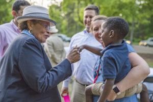 Rep. Alma Adams visits with Davidson residents.