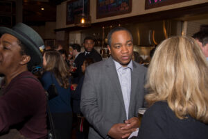 District Attorney Spencer Merriweather chats with Stand Up Davidson reception attendee.
