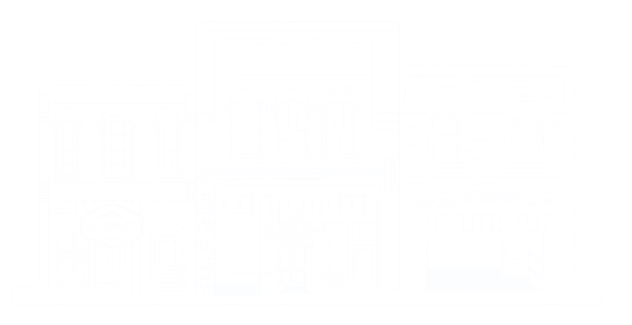 line drawing of Davidson town buildings